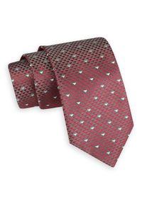 Czerwono-Szary Szeroki Krawat -Angelo di Monti- 7 cm, Męski, Wzór Geometryczny. Kolor: czerwony. Wzór: geometria. Styl: wizytowy, elegancki