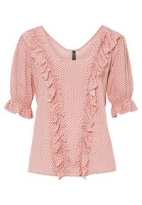 Bluzka bonprix jasnoróżowo-czarny w groszki. Kolor: różowy. Wzór: grochy