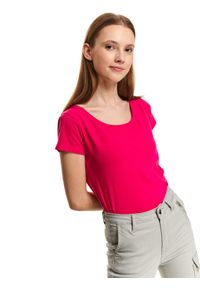 Różowy t-shirt TOP SECRET na wiosnę, krótki, z okrągłym kołnierzem, z krótkim rękawem