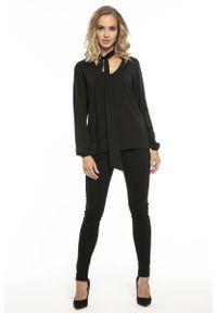 Czarna bluzka z długim rękawem Tessita z dekoltem w serek, elegancka