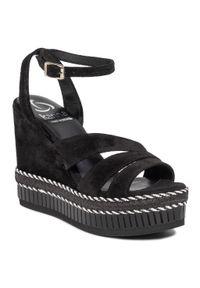 Czarne sandały Kanna casualowe, na co dzień