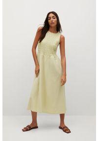 mango - Mango - Sukienka SANDI. Kolor: żółty. Materiał: tkanina, bawełna. Długość rękawa: na ramiączkach. Wzór: gładki. Typ sukienki: rozkloszowane