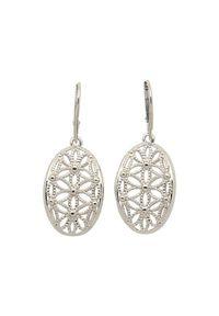 Polcarat Design - Srebrne rodowane kolczyki K 1890. Materiał: srebrne. Kolor: srebrny. Wzór: kwiaty, aplikacja