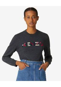Kenzo - KENZO - Grafitowy sweter z logo. Okazja: na co dzień. Kolor: szary. Materiał: wełna, prążkowany. Długość rękawa: długi rękaw. Długość: długie. Wzór: aplikacja, kolorowy. Styl: casual