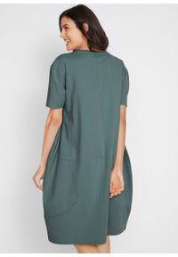 Sukienka bawełniana oversize, rękawy 1/2 bonprix zielony eukaliptusowy. Kolor: zielony. Materiał: bawełna. Typ sukienki: oversize