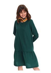 Zielona sukienka TOP SECRET casualowa, w kolorowe wzory, midi, na wiosnę