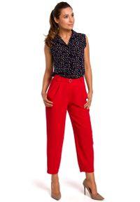 MOE - Wzorzysta Koszulowa Bluzka bez Rękawów - Model 4. Materiał: poliester, elastan. Długość rękawa: bez rękawów