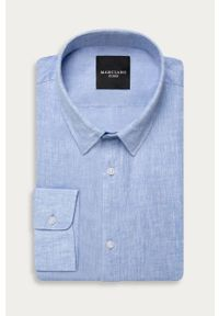 Niebieska koszula Marciano Guess z klasycznym kołnierzykiem, na co dzień, długa
