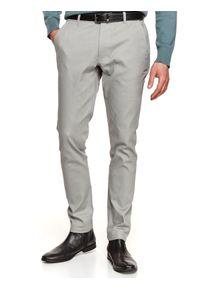 TOP SECRET - Spodnie długie męskie chino, slim. Okazja: na co dzień, do pracy. Kolor: szary. Materiał: tkanina, bawełna. Długość: długie. Sezon: wiosna. Styl: elegancki, sportowy, casual