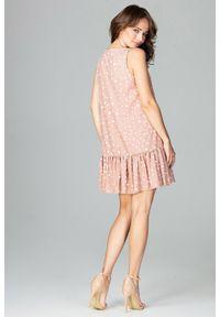 Lenitif - Trapezowa sukienka z rozkloszowanym dołem z falbaną. Okazja: na co dzień. Materiał: materiał. Wzór: grochy, gładki. Typ sukienki: trapezowe. Styl: casual