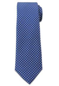Stylowy Krawat Męski w Białe Groszki, Kropki - Chattier- 6,5cm, Niebieski. Kolor: niebieski. Materiał: tkanina. Wzór: kropki, grochy. Styl: elegancki
