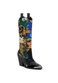 Versace Jeans Couture - Kozaki VERSACE JEANS COUTURE - E0VVBS12 71344 M09. Kolor: czarny. Materiał: materiał. Szerokość cholewki: normalna. Obcas: na obcasie. Wysokość obcasa: średni