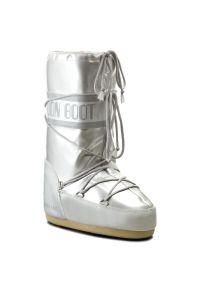 Srebrne śniegowce Moon Boot z cholewką, na zimę