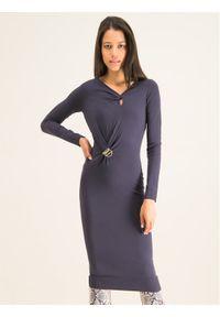 Patrizia Pepe Sukienka dzianinowa 8A0625/A6J3-S573 Granatowy Slim Fit. Kolor: niebieski. Materiał: dzianina