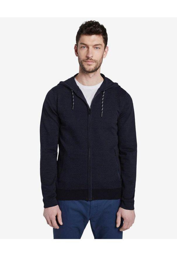 Czarny sweter Tom Tailor z kapturem, w kolorowe wzory, długi
