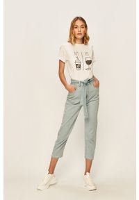 Niebieski jeansy loose fit ANSWEAR w kolorowe wzory, z podwyższonym stanem