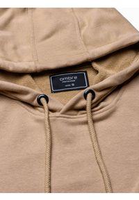 Beżowa bluza Ombre Clothing z kapturem, z nadrukiem