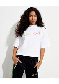PALM ANGELS - Biała koszulka z cieniowanym logo. Kolor: biały. Materiał: bawełna. Wzór: kolorowy