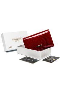 LORENTI - Lakierowany portfel czerwony Lorenti 76112-RS-RFID RED. Kolor: czerwony. Materiał: skóra. Wzór: aplikacja