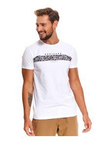 Biały t-shirt TOP SECRET z nadrukiem, z krótkim rękawem, krótki