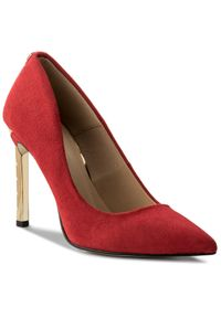 Czerwone szpilki R.Polański eleganckie, na średnim obcasie, na szpilce, z aplikacjami