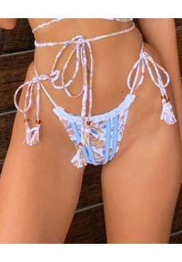 BANANHOT - Dół od bikini Ocean. Kolor: biały. Materiał: tkanina, materiał. Wzór: kwiaty, aplikacja, nadruk