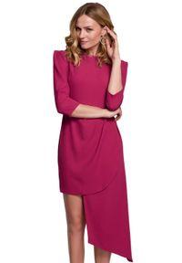 Makover - Elegancka asymetryczna sukienka podkreślająca ramiona. Materiał: elastan. Typ sukienki: asymetryczne. Styl: elegancki