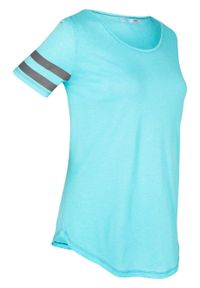 Niebieska bluzka bonprix z krótkim rękawem, krótka, melanż