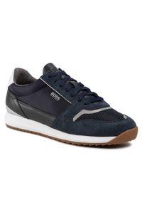Niebieskie sneakersy BOSS na co dzień, z cholewką