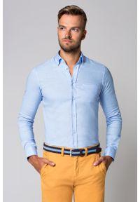 Niebieska koszula Lancerto w kolorowe wzory, krótka