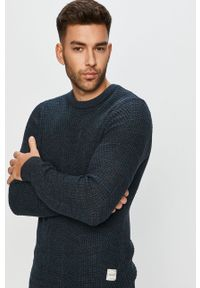 Niebieski sweter PRODUKT by Jack & Jones długi, casualowy, z okrągłym kołnierzem