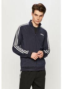 Niebieska bluza rozpinana Adidas z aplikacjami, casualowa, na co dzień, bez kaptura