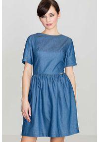 Niebieska sukienka Katrus z krótkim rękawem #1