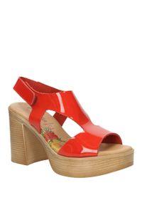 Czerwone sandały Marila w kolorowe wzory, na co dzień, casualowe, na lato