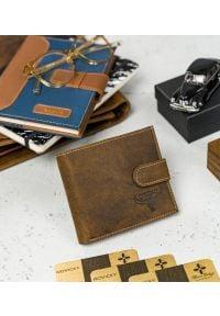 BUFFALO WILD - Skórzany męski portfel j. brązowy Buffalo Wild RM-01L-HBW TAN. Kolor: brązowy. Materiał: skóra