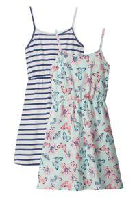 Sukienka letnia dziewczęca (2 szt. w opak.) bonprix niebieski w paski + pastelowy miętowy z nadrukiem. Kolor: niebieski. Długość rękawa: na ramiączkach. Wzór: paski, nadruk. Sezon: lato