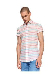 Wielokolorowa koszula TOP SECRET z krótkim rękawem, krótka, na zimę, z nadrukiem