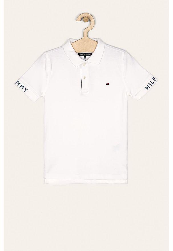 Biały t-shirt polo TOMMY HILFIGER casualowy, krótki, na co dzień, polo