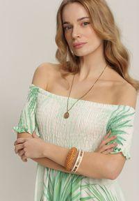 Renee - Zielona Sukienka Fyrova. Typ kołnierza: kołnierz z falbankami, dekolt hiszpanka. Kolor: zielony. Długość rękawa: krótki rękaw. Wzór: aplikacja. Długość: maxi