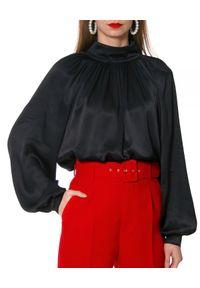 AGGI - Czarna satynowa bluzka Maurycja. Okazja: do pracy. Kolor: czarny. Materiał: satyna. Długość: długie. Styl: wizytowy