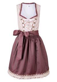 Sukienka ludowa z fartuchem bonprix jasnoróżowy wzorzysty. Kolor: różowy. Długość: mini