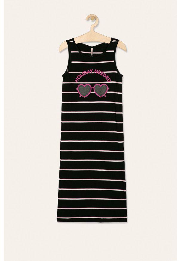 Czarna sukienka Kids Only z okrągłym kołnierzem, prosta