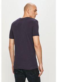 G-Star RAW - G-Star Raw - T-shirt. Kolor: niebieski. Materiał: bawełna. Wzór: aplikacja
