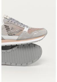 Szare sneakersy Emporio Armani na sznurówki, z okrągłym noskiem, na obcasie
