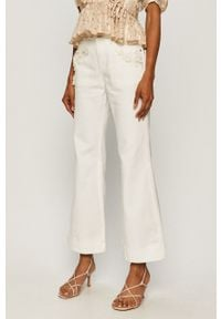Białe jeansy bootcut Miss Sixty w kolorowe wzory