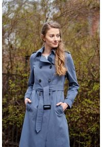 Marie Zélie - Trencz Adria bawełna z elastanem szarobłękitny. Kolor: niebieski. Materiał: bawełna, elastan. Sezon: lato. Styl: klasyczny #8