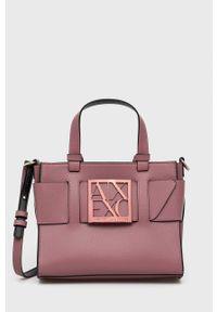 Armani Exchange - Torebka. Kolor: różowy. Rodzaj torebki: na ramię