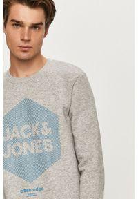 Szara bluza nierozpinana Jack & Jones z okrągłym kołnierzem, na co dzień