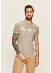 Szary t-shirt Pepe Jeans z nadrukiem, z okrągłym kołnierzem