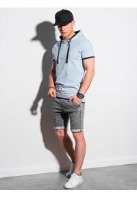 Niebieski t-shirt Ombre Clothing z kapturem